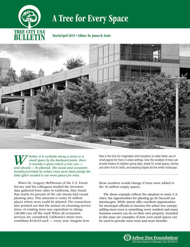 Picture of FTC Bulletin March/April 2019: A Tree for Every Space
