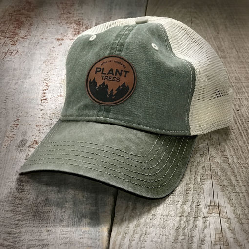 Picture of Plant Trees Leather Patch Hat-Olive/Olive