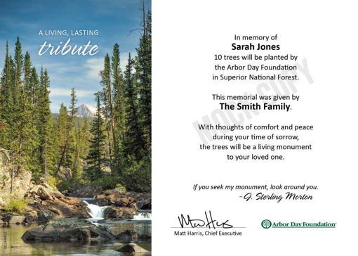 Picture of Wallowa-Whitman National Forest: Trees in Memory e-Certificate